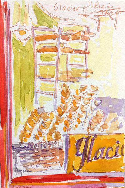 Ice Cream Shop (Le Glacier) Watercolor Painting by Dorothy Fagan