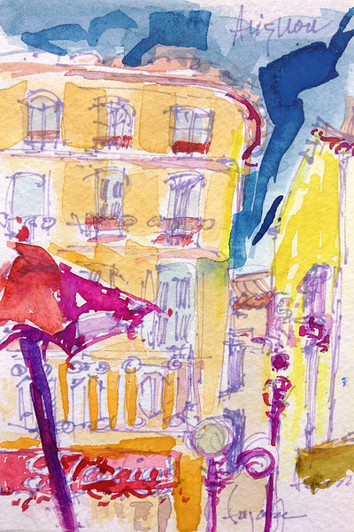 Avignon Cafe Scene, Watercolor Painting by Dorothy Fagan