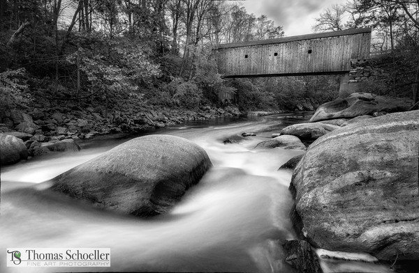 Kent Connecticut's idyllic covered bridge as a B&W fine art print