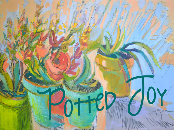 Potted Joy Removable Wall Decal by artist Dorothy Fagan