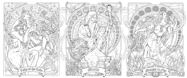 Merlin Triptych - Color Your Own