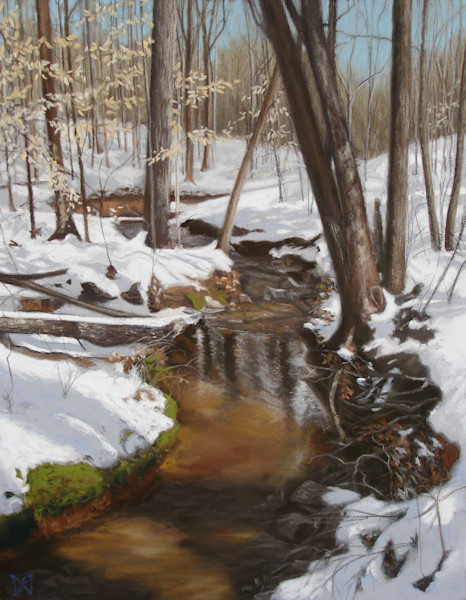 Carriage Hills Creek Winter art for sale