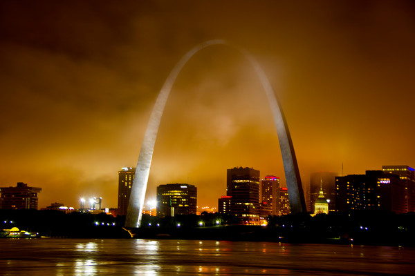 St Louis Arch on Stormy Foggy Night.