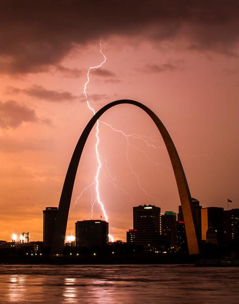 Lightning Behind the Gateway Arch