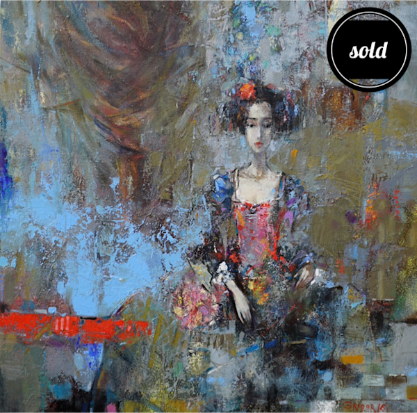 Figurative study of a young woman with colorful textural atmostphere