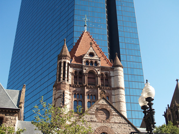 Old church with skyscraper behind in Boston