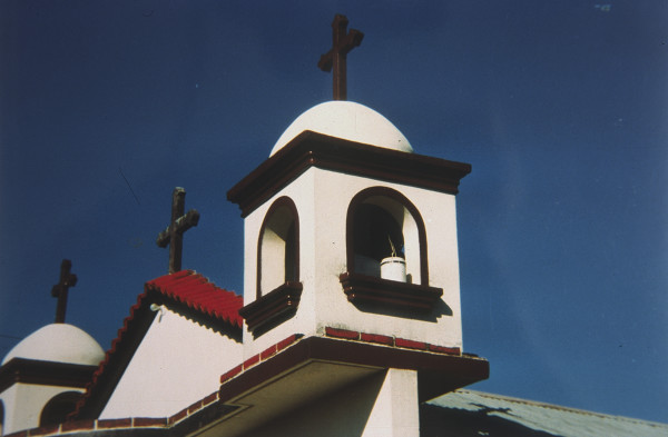 Church Bell Tower in Guatemala--looks like face of Mickey Mouse
