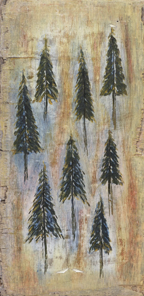 Eight Pines Three Birds (cropped) Art For Sale