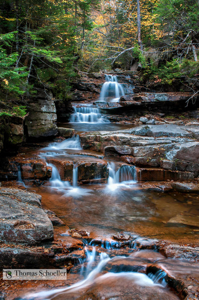 The Bemis Brook Falls gently cascade through New Hampshire's Crawford Notch