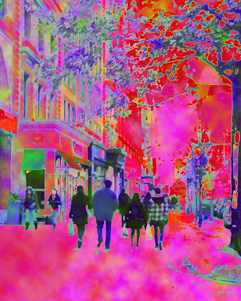 Vibrant colors and a soft dreamy image capture city life in Boston in this art print by Paula Ogier.