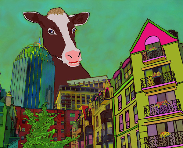This charming colorful print features an oversized cow in Boston's South End neighborhood.