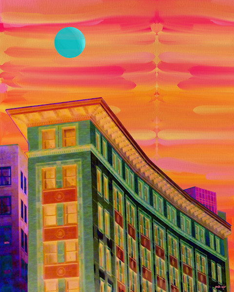 Paula Ogier captures the Chinatown vibe in this colorful contemporary art print of an urban scene.