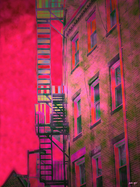 This vibrantly colored open edition cityscape is by Boston artist Paula Ogier.