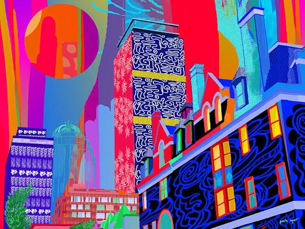 This vividly colored take on the Boston cityscape by artist Paula Ogier is available as an open edition print.