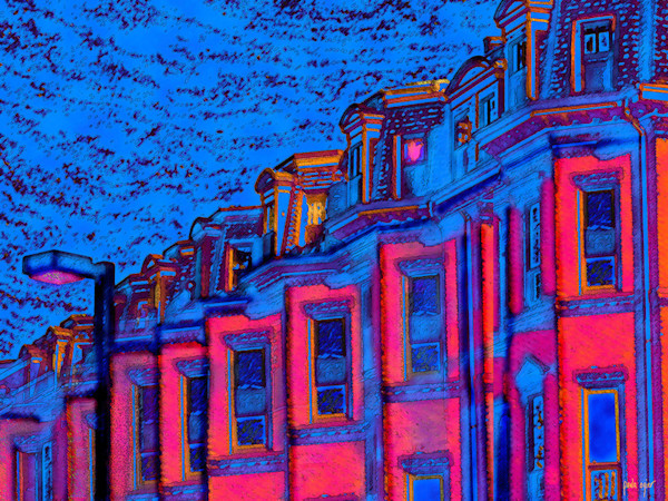 Artist Paula Ogier's open edition art print captures Tremont Street in Boston, rendered in a psychedelic palette.