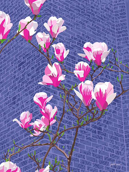 Back Bay Magnolias is an open edition print of digital artwork by Paula Ogier, celebrating city life in Boston.