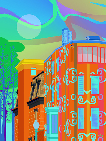 This delightful color-filled cityscape capture the early morning in an urban environment.