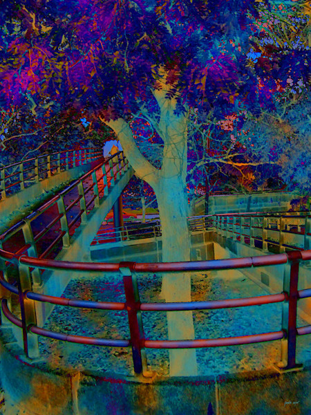 The Footbridge is a dramatic, digitally-altered image by artist Paula Ogier, available as an open edition print.