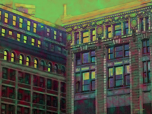 Older architectural elements are made new in this colorful contemporary art print by Boston-based artist Paula Ogier.