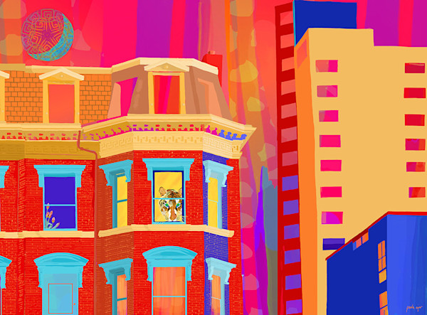 Artist Paula Ogier's limited edition print of an urban neighborhood in Boston is a delightful whimsical work of art.