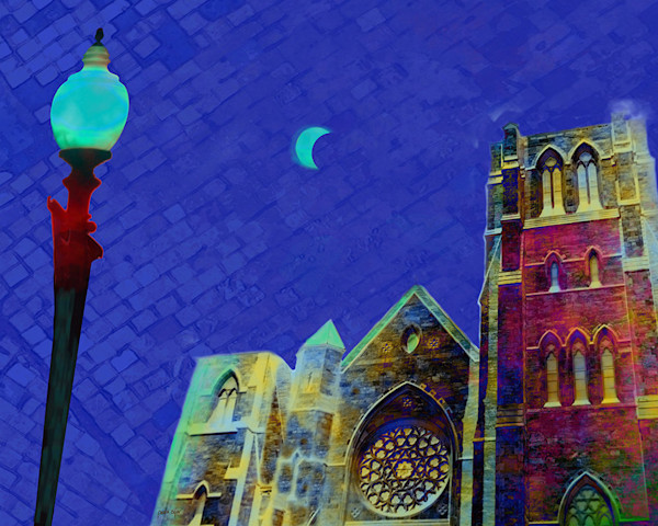 A city scene based in Boston shows a vivid sky and moon over a cathedral, in this bright digital art print.