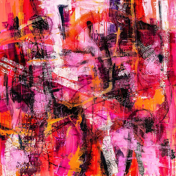 Vibrant abstract painting filled with a palette of hot colors by artist M. Jane Johnson.