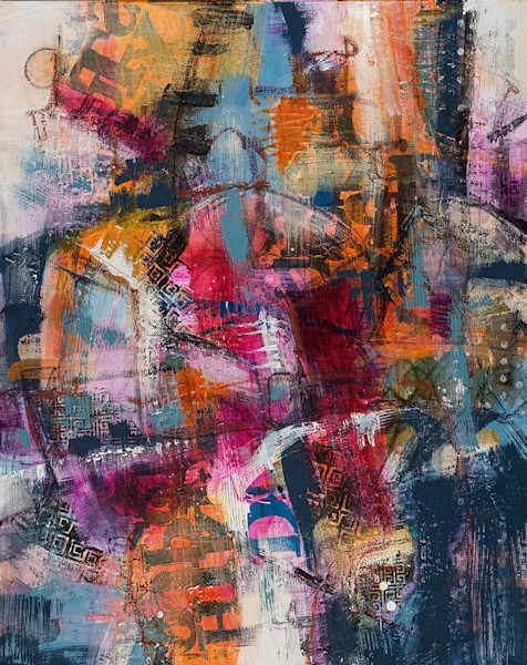 This sophisticated urban-themed abstract painting has lettered elements and broad color washes.
