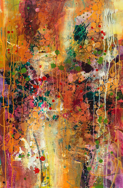 An autumnal palette of colors blends textures and patterns in this abstract mixed media painting.