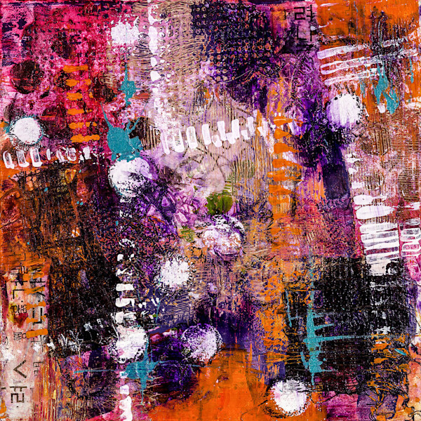 This vivid abstract mixed media painting by artist M. Jane Johnson is a colorful standout.