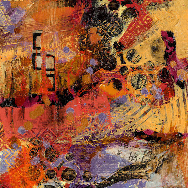 This colorful abstract mixed media painting by artist M. Jane Johnson pops with color and energy.