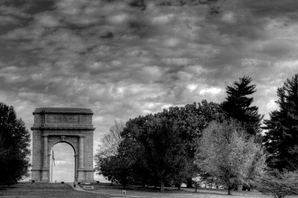 A Black and White Fine Art Photograph of the Valley Forge National Monument by Michael Pucciarelli