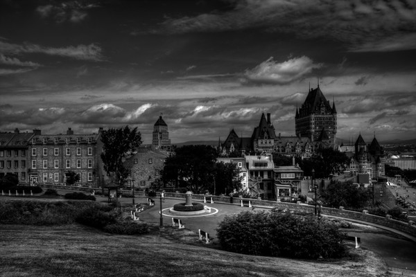 Fine Art Black and White Photograph of Frontenac Chateau by Michael Pucciarelli