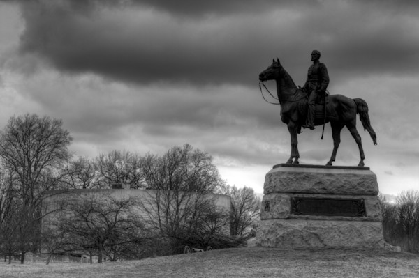 A Black and White Fine Art Photograph of a Historical Chariot in Gettysburg Military Park by Michael Pucciarelli