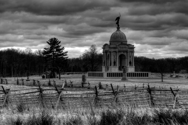 A Black and White Fine Art Photograph of a Cloudy National Monument of Gettysburg by Michael Pucciarelli