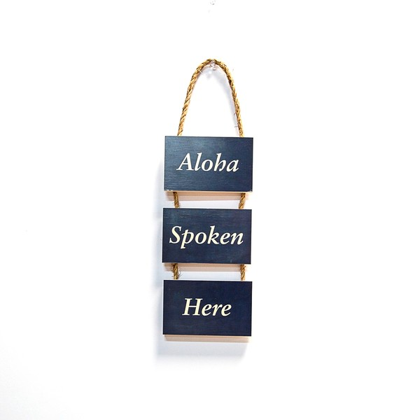 3 Tier Hanging Rope Sign  |  Aloha Spoken Here