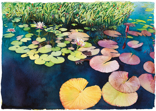 A wonderfully composed image of beautiful floating lily pads resting on the surface of a brilliant blue pond, convey serenity and the quiet peacefulness that can be found in nature in this watercolor by Marlies Merk Najaka.
