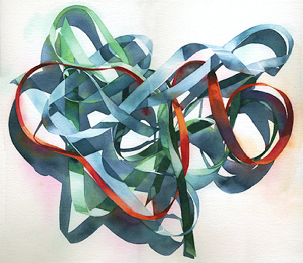 This fun, almost abstract watercolor by artist Marlies Merk Najaka is a fascinating study of a collection of various ribbons as they swirl together in a random pattern of curves and undulations.