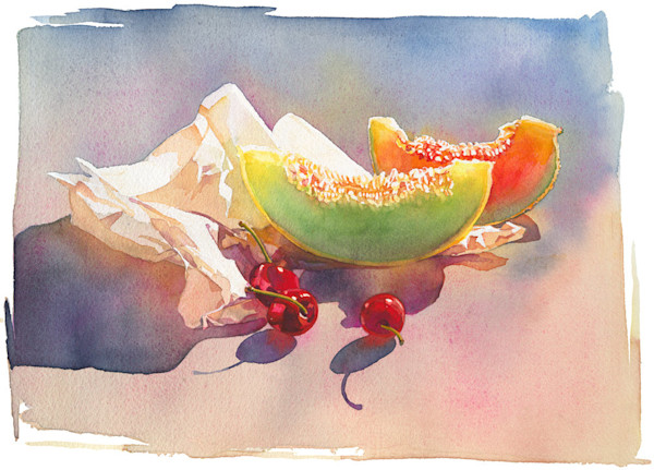 The wonderful soft color palette of the melons against the vivid red of the cherries, along with the brilliant sunlit reflections off the fruit and the paper, make this a stunningly beautiful image by artist Marlies Merk Najaka.