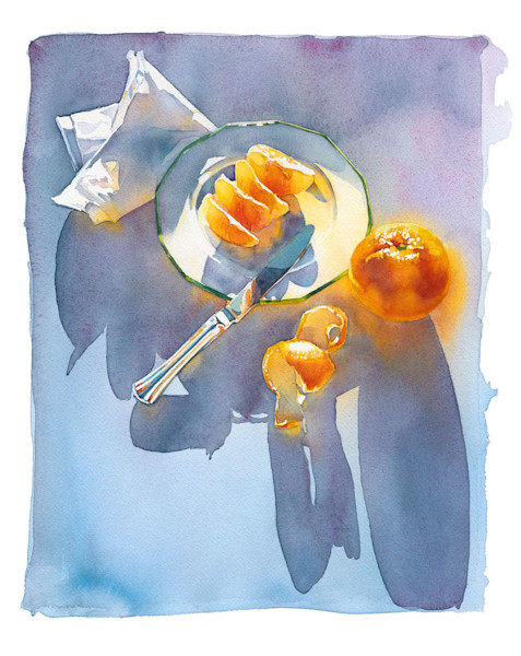 In this watercolor by artist Marlies Merk Najaka, the orange on the morning breakfast table in appears to glow from within.