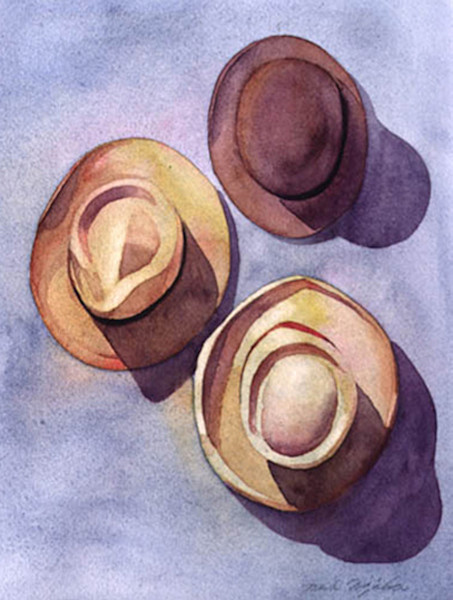 Sunlight reflects off the hats, casting deep shadows and adding depth to the image in this watercolor by Marlies Merk Najaka.