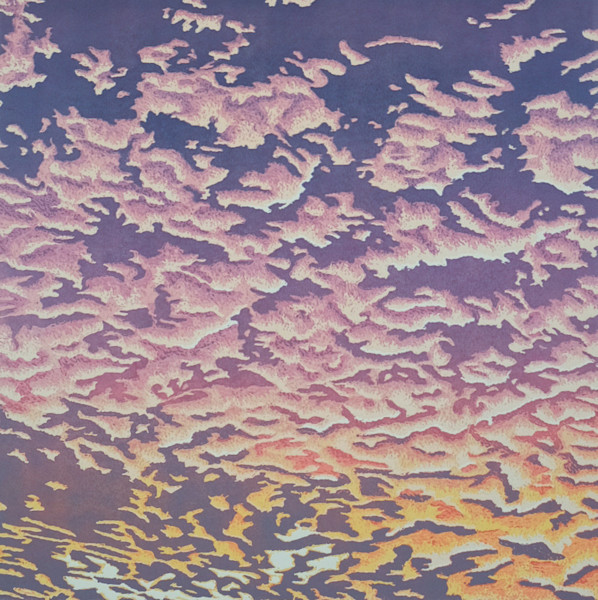 This handmade linocut print by artist Elizabeth Busey shows a stunning scene of clouds over a setting sun.