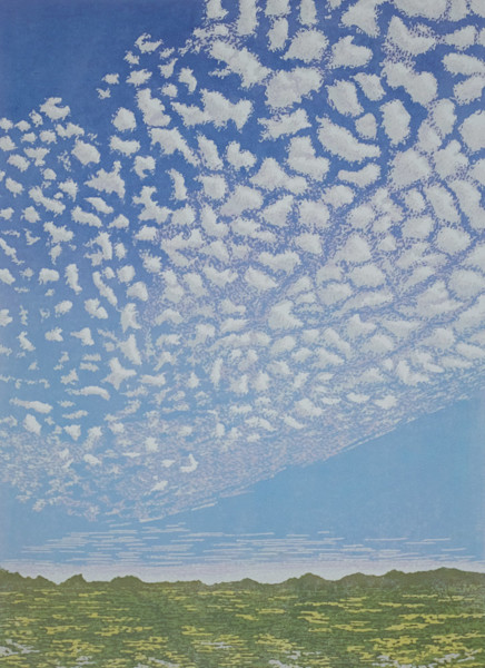 A pastoral scene with a sky filled with clouds is the subject of this linocut by printmaker Elizabeth Busey.