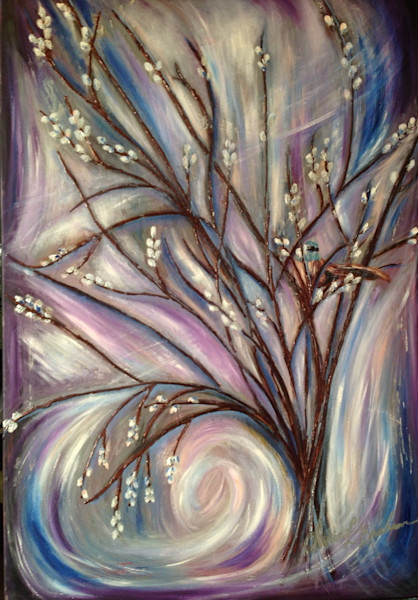 Birds in a purple Willow tree Painting - Artistic View