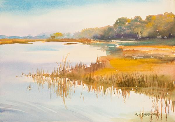Morning Light on the Marsh 1 | Watercolor Landscapes | Gordon Meggison IV
