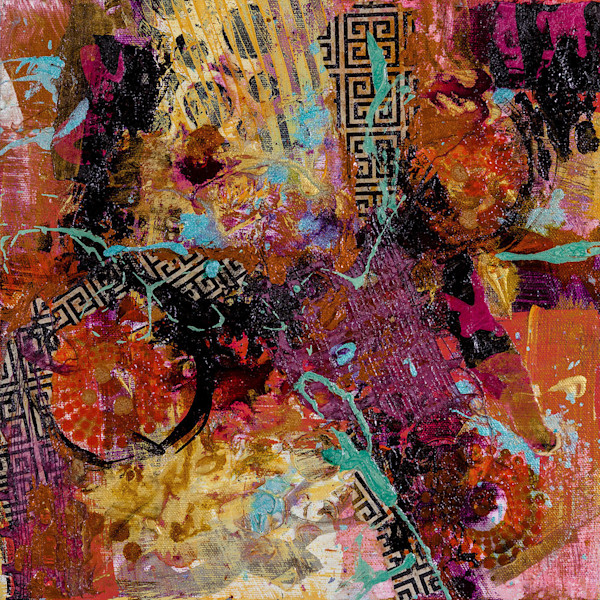 A patterned splash of color in this small abstract mixed media work by artist M. Jane Johnson is perfect for a small space in home or office.