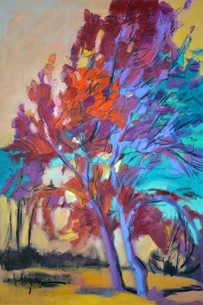 Passion Dance | Contemporary Red Tree Print by Dorothy Fagan