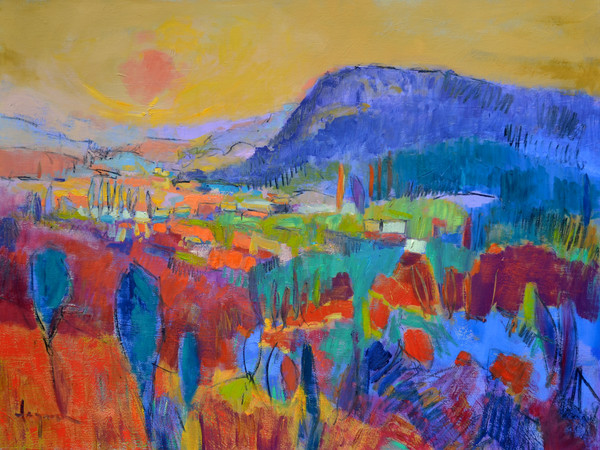 Land of Plenty | Abstract Landscape Tuscany Painting by Dorothy Fagan