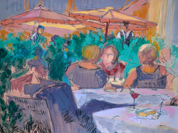 Three Sisters Under the Umbrella | Cafe Scene Fine Art Print by Dorothy Fagan