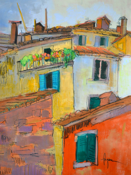 Colorful Tuscan Village Fine Art Print on Canvas or Watercolor Paper, Rooftop Sanctuary by Dorothy Fagan