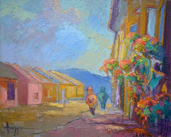 Blooming Wall | Original Oil Painting Assisi by Dorothy Fagan